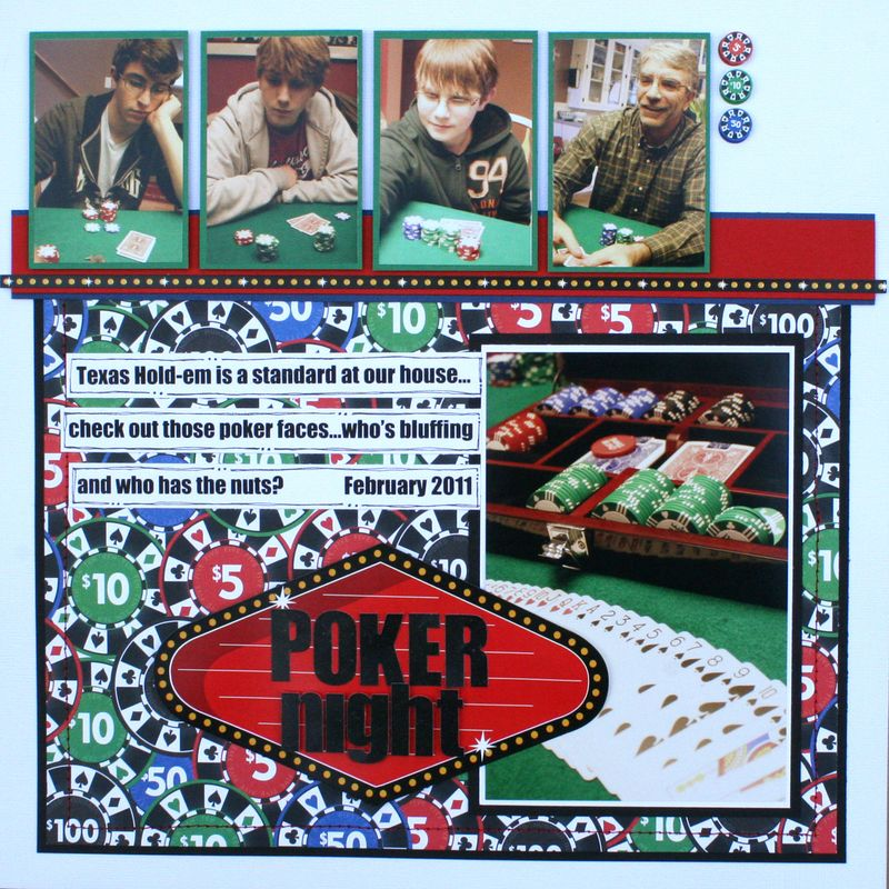 Poker night scrapbook page