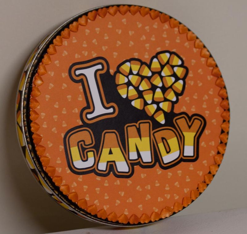 I heart candy tin altered